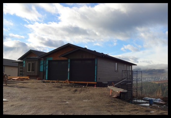 Building a Home in Coldstream, Fifth Month, delays with the hardi board going on, but it's looking great.